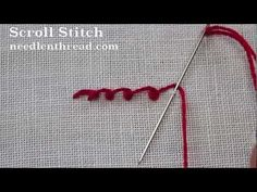 I ❤ embroidery . . . Video Tutorial: Scroll Stitch~ Scroll stitch is a line stitch. It makes very pretty decorative lines, curves, and so forth, that look scalloped. In the video, the scroll stitch might look slightly laborious, but once you get the hang of the stitch, it's another one that works up fairly quickly.