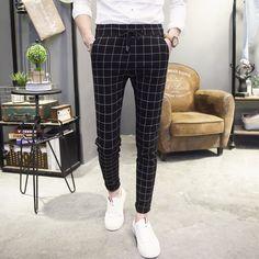 2017 High Quality Casual Skinny Men's Pants Plaid Slim Male CITY FASHION Men Business Trousers Elastic Jogger Pant #Affiliate