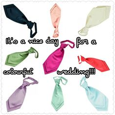 Planning your #WeddingDay ? Or know someone who is? Then add a splash of colour to proceedings with a matching #scrunchiecravat , normal #cravat or #tie and #handkerchief all available in this season's top #Wedding Colours at www.tiesplanet.com! We can also colour match to most dresses/swatches of fabric to make sure all those involved are #PicturePerfect for the Big Day!!! #Accessories #Colour #Marriage #HolyMatrimony #Bride #Groom #BestMan #Usher #Bridesmaids #MaidOfHonour