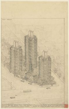 Frank Lloyd Wright. St. Mark's-in-the-Bouwerie Towers, project, New York City, New York, Aerial perspective. c. 1927-31