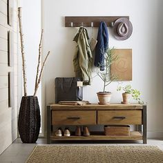 Leigh wall mounted coat rack entryway bench, hall bench, foyer bench, entry b Storage Bench Seating, Entryway Bench Storage, Entryway Furniture, Bench With Storage, Furniture Ideas, Entryway Cabinet, Entryway Mirror, Corner Furniture, Cabinet Storage