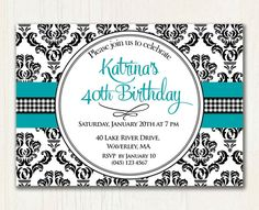 40th Birthday Damask Adult Birthday by TracyAnnPrintables on Etsy, $12.00