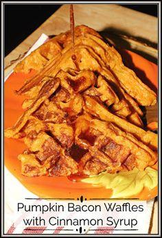Pumpkin Bacon Waffles with Cinnamon Syrup #PumpkinWeek
