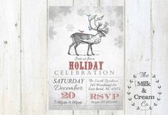 Rustic Reindeer Holiday Party Invite Vintage by themilkandcreamco Rustic Reindeer Holiday Party Invite, Vintage Reindeer Birds Snowflake Christmas Party Invite, Printable Invite, Reindeer Holiday Invite