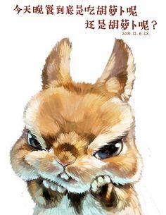 纠结的兔子-风筝有风_萌宠_涂鸦王国插画