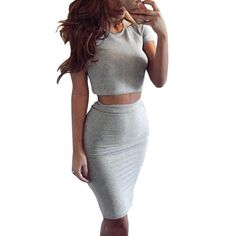 Summer Style Lady Bodycon Midi Dress Set Party Vestidos Two Piece Outfits Costume For Sexy Women  #style #stylish #shopping #love #swag #glam #beautiful #dress #iwant #pretty