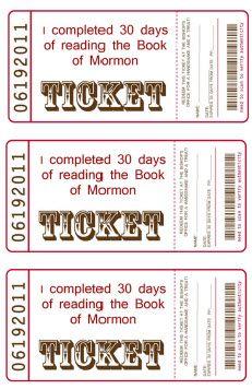 Book of Mormon Treat Ticket
