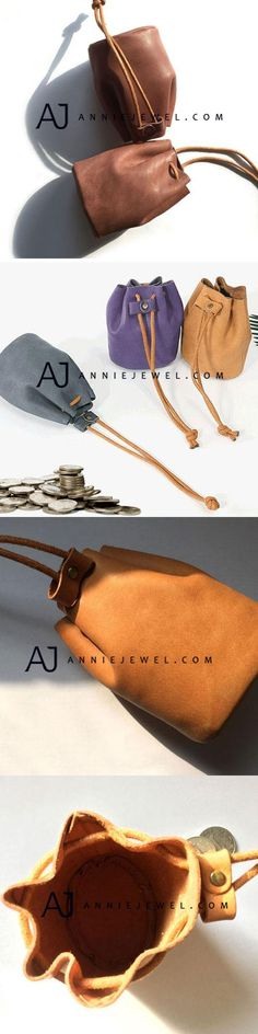 GENUINE LEATHER COIN HOLDER HANDMADE MINI BUCKET COIN WALLET PURSE BAG FOR WOMEN