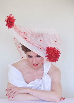 Myrna in Ivory and Scarlet Leather Flowers, Dressed To Kill, Scarlet, Headpiece, Red Leather, Sculpting, Ivory, Seasons, Hats