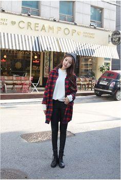 Queen Plaid Long Shirt   Korean Fashion