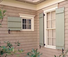 Love the color of these board and batten shutters