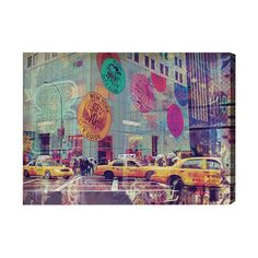 """Oliver Gal NYC Fashion Taxi Graphic Art on Wrapped Canvas Size: 36"""" H  x 48"""" W"""
