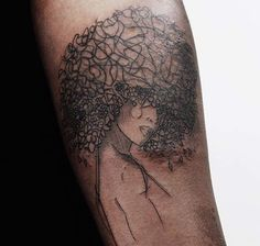 The afro, branches in the tree. Face perhaps a butterfly, the body, the trunk. Tree of life Mais Dope Tattoos, Black Tattoos, New Tattoos, Body Art Tattoos, Sleeve Tattoos, Tatoos, African Queen Tattoo, African Tattoo, Afro Tattoo