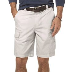 91fee21253 Chaps Mens Cargo Shorts classic fit ripstop stone flat front cotton size 42  NEW