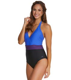 125768d09c Speedo Color Blocked Halter One Piece at SwimOutlet.com - Free Shipping