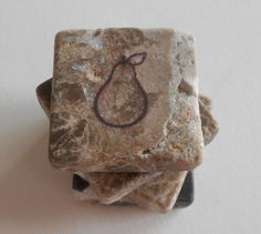 Save 20% on $20 or more through 12/14/14 - Use code HOLIDAY20 Pear Stone Tile Magnets Dark Emperaodr Tumbled by midwooddesign