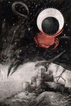 La Condesa Sangrienta, illustrated album from Libros del Zorro Rojo.    Illustration by Santiago Caruso.