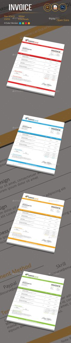 Proffesional Invoice Template 03 Cleanses, Stationery and Colors - Download Invoice