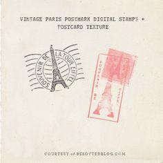 digital vintage paris postmark stamps