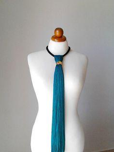 Silk tassel teal jewelry tassel necklace long bohemian