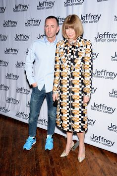 Founder and President of Jeffrey NY/Atlanta Jeffrey Kalinski and Editor-in-chief of American Vogue Anna Wintour attend Jeffrey Fashion Cares 2014 event at the 69th Regiment Armory in New York City.