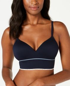 3a33ee3c2623ea Tommy Hilfiger Women s Seamless Ribbed Push-Up Bralette R70T052 - Blue M