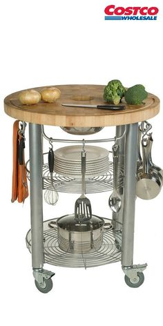 """Chris & Chris Stadium Series Kitchen Work Station 30"""" diameter x 36"""" high. The Stadium Series Kitchen Work Station is the latest, self-contained, state of the art food preparation center on wheels."""