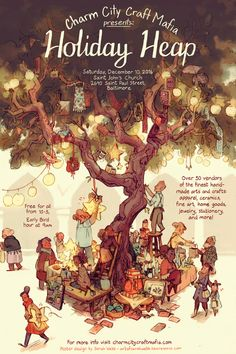 My poster design for Baltimore's CCCM winter holidays market! Children's Book Illustration, Graphic Design Illustration, Beautiful Book Covers, Fairytale Art, Environmental Art, Aesthetic Art, Art Inspo, Cool Artwork, Fantasy Art