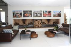photo display above fireplace