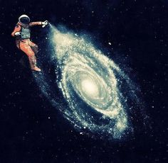 Astronaut spray painting a galaxy: I think that astronauts are a very good way to portray the subject of sky at night because they can be floating in different positions and can be in front of any background.