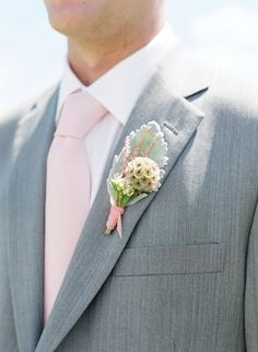 REVEL: Blush + Mint Wedding Inspiration hey the grey is nice! Groomsmen Boutonniere, Groom And Groomsmen, Boutonnieres, Wedding Boutonniere, Dusty Miller, Wedding Groom, Wedding Suits, Rustic Wedding, Causal Wedding