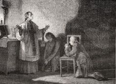 The King At Prayer Before His Execution, 21 January 1793. Louis Xvi, 1754-1793. King Of France 1774-1792. Engraved By Jonnard After De La Charlerie. From Histoire De La Revolution Francaise By Louis Blanc. Poster Print (34 x 26)