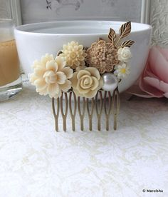 Ivory Flowers, Pearl, Brass Leaf Antiqued Brass Filigree Collage Hair Comb. Vintage Style, Maid Of Honor, Bridesmaids Comb, Ivory Wedding.