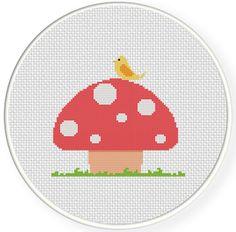 INSTANT DOWNLOAD Stitch Bird And Mushroom PDF por DailyCrossStitch