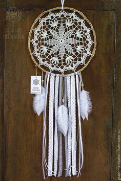 Купить Ловец снов большой, Белый декор, Вязаная ловушка для снов в бохо стиле - ловец снов