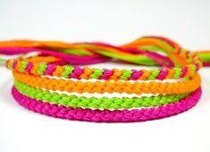Neon Friendship Bracelet Set in Lime, Orange, and Magenta on Etsy, $8.00