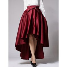 Choies Burgundy Bowknot Waist Hi-lo Skater Skirt ($29) ❤ liked on Polyvore featuring skirts, red, short in front long in back skirt, high low skater skirt, mullet skirt, red hi low skirt and high low skirt