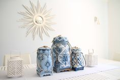 white, blue, beach inspired objects, schumacher fabrics