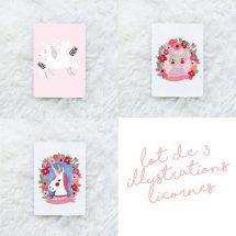pack-illustrations-licornes-de-kriboute-  - unicorn - Rainbow - maison - décoration - chambre d'enfants - kids - home - accessoires - arc-en-ciel - affiche - poster - tableau - papeterie - illustration