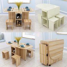 Household simplicity Folding Family Dining Room Sets Table and Chairs Home Furniture Desk Mesa de comedor plegable - Web 2020 Best Site Painting Wooden Furniture, Folding Furniture, Space Saving Furniture, Home Decor Furniture, Furniture Plans, Wood Furniture, Living Room Furniture, Antique Furniture, Modern Furniture