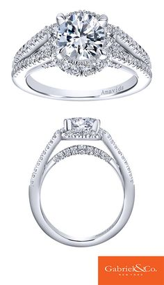 A stunning and gorgeous Amavida 18k White Gold Diamond Halo Engagement Ring from Gabriel & Co. This piece has such an amazingly special design and style! We love all the diamonds this engagement ring has that shine and sparkle so bright.