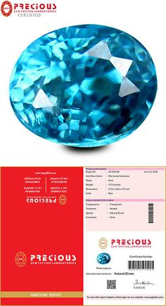 Zircon 10286: 1.72 Ct Pgtl Certified Significant Oval Cut (7 X 6 Mm) Blue Zircon Gemstone -> BUY IT NOW ONLY: $39.99 on eBay!
