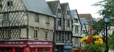 Half-timbered houses in Bourges, Cher.