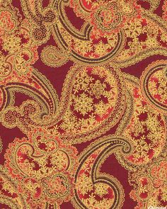 Winter Elegance - Snow Crystal Paisley - Cranberry Red/Gold