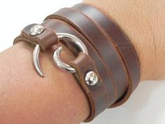 Brown Leather Wrap Bracelet Leather Cuff with Spiral by BeadSiam