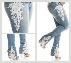 Diverse Jeans Decor from Embroidery, Painting and Lace, фото № 30 Diy Lace Jeans, Denim And Lace, Embellished Jeans, Embroidered Jeans, Denim Fashion, Fashion Outfits, Denim Ideas, Patterned Jeans, Denim Crafts