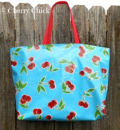 Large Cherry Oilcloth Market Tote Bag in Aqua Blue by Cherry Chick #Cherry #Cherries #OilCloth <3 <3 <3