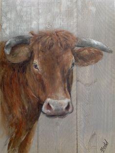 Schilderijen van dieren op steigerhout Koe op steigerhout, Cow on wood Painting www.Boxart.be