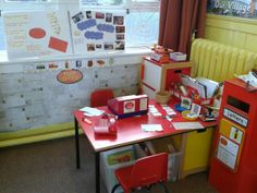 British Columbia Kindergarten Language Arts Our post office role play area, lots of writing and maths opportunities. Play Corner, Corner House, Kids Office, Post Office, Teaching Activities, Creative Activities, Home Corner Ideas Early Years, Jolly Christmas Postman, Katie Morag