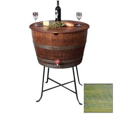 Order Designs Bistro Barrel Cooler Half barrel from Uncork Wine Furniture. Designs Bistro Barrel Cooler Half barrel with commercial liner on wrought iron base. Features working brass drain faucet and rough sawn top hinged for easy access from either side. Wine Barrel Furniture, Shabby, Cool Tables, In Vino Veritas, Living Styles, Wine Storage, A Table, Barrel Table, Wine Table